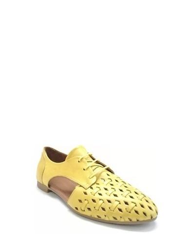 Ballerins Hakiki Deri El Yapımı Sarı Babet Blrs-042-1 Sarı